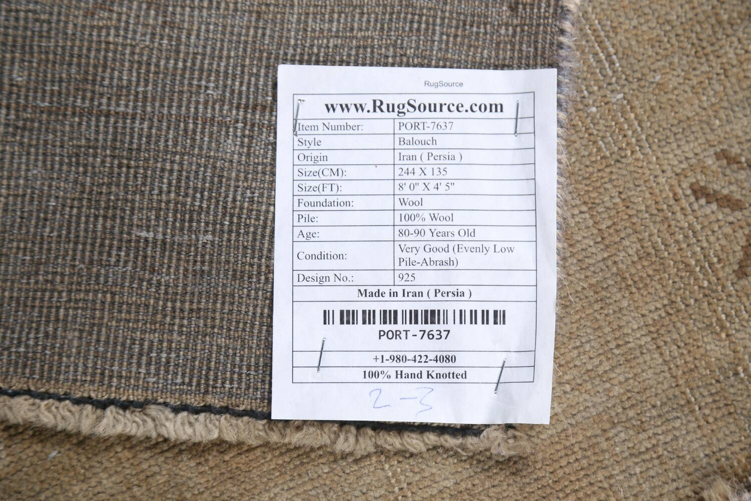 Antique Distressed Balouch Persian Wool Rug 4x8 image 22