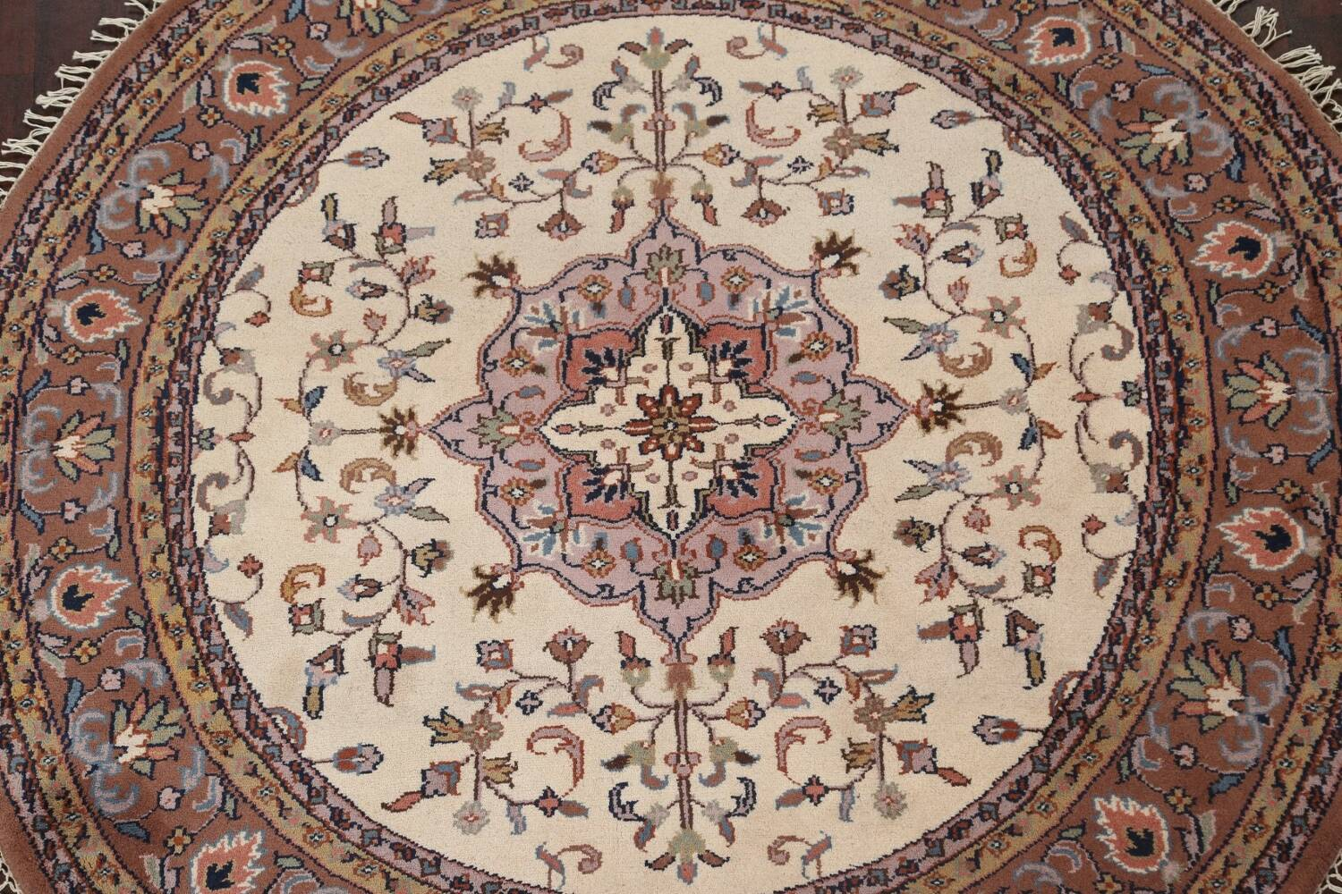 Hand-Knotted Kashan Round Area Rug 7x7 image 3
