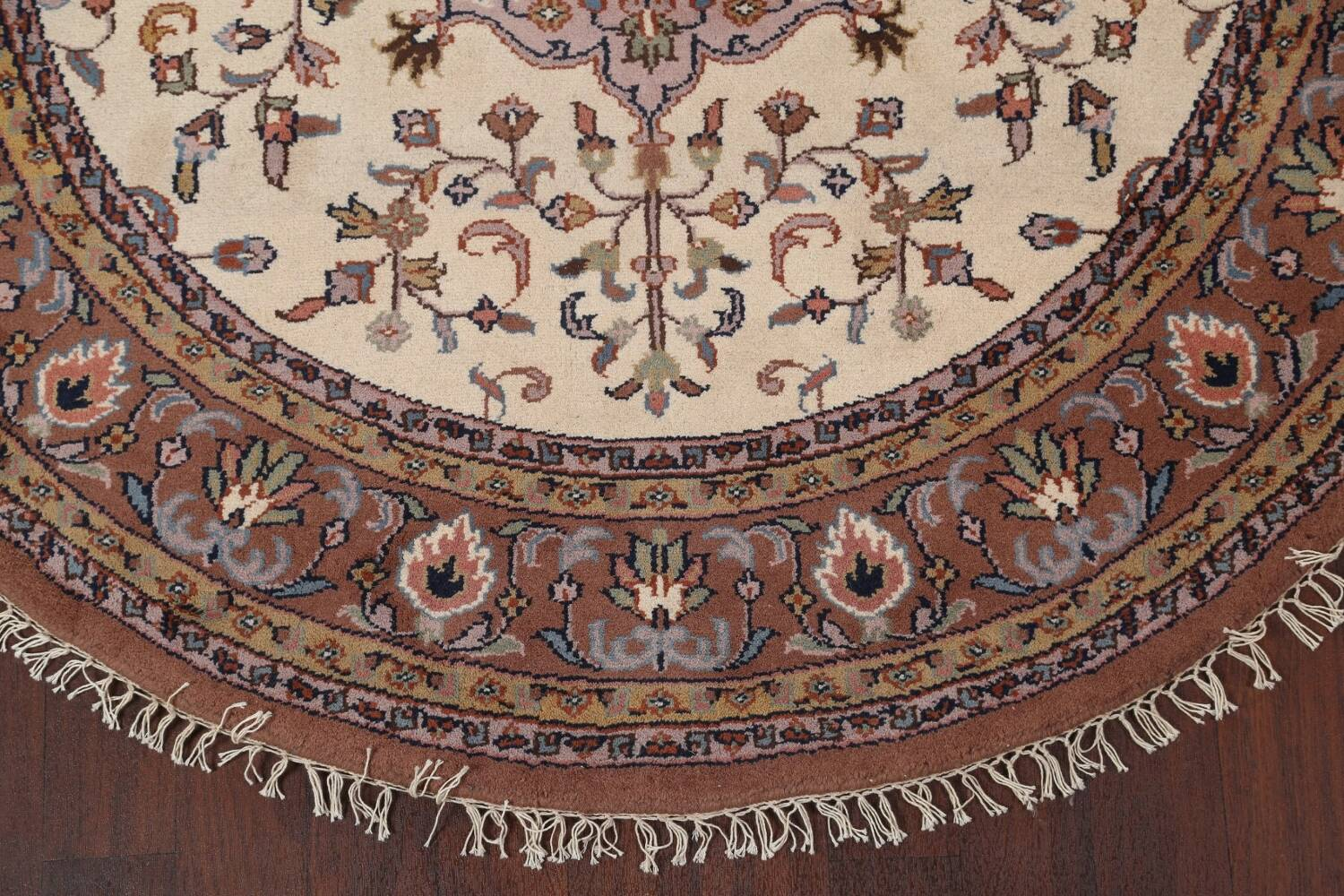 Hand-Knotted Kashan Round Area Rug 7x7 image 5
