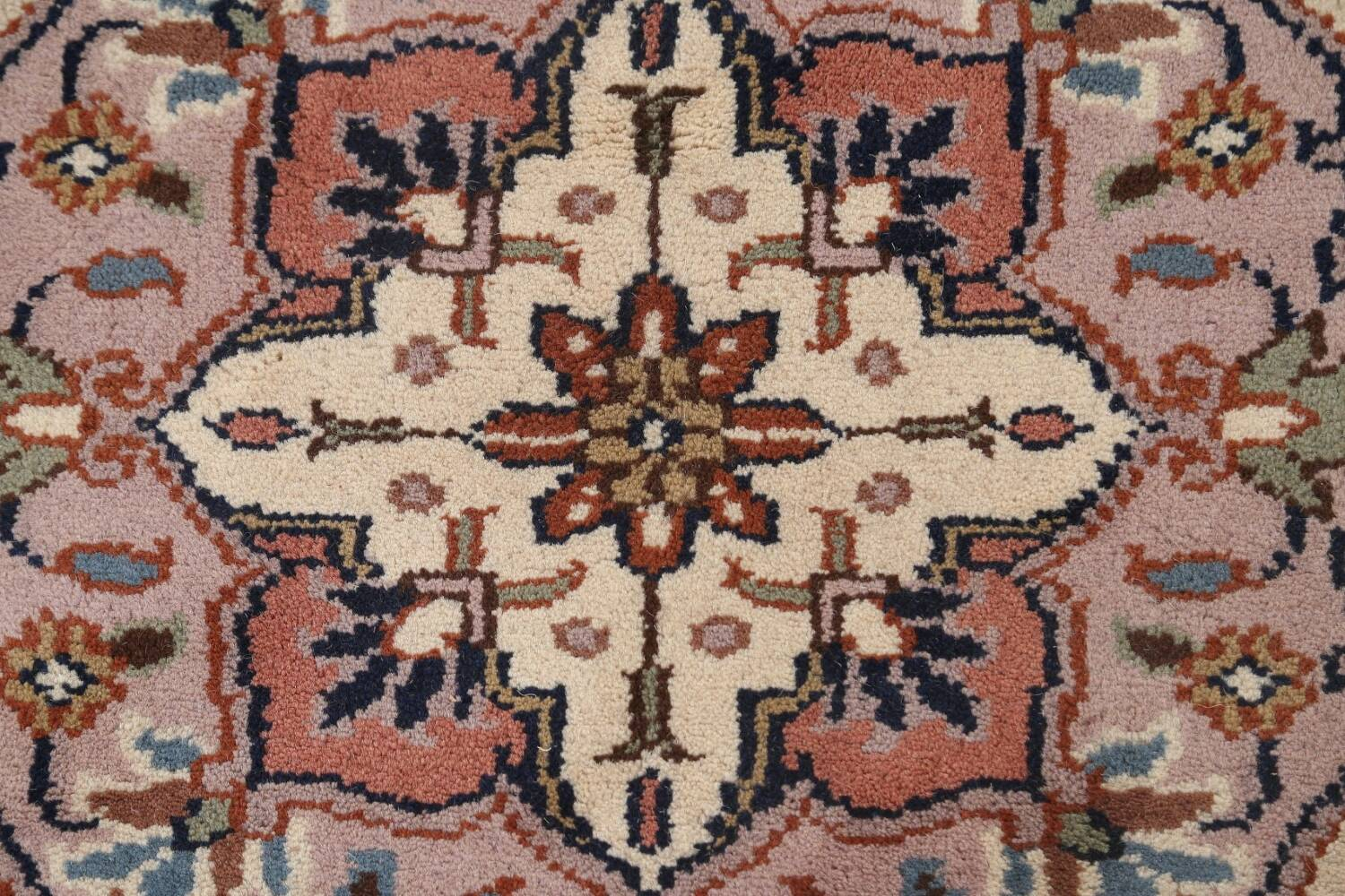Hand-Knotted Kashan Round Area Rug 7x7 image 8
