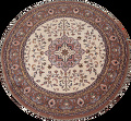 Hand-Knotted Kashan Round Area Rug 7x7 image 1