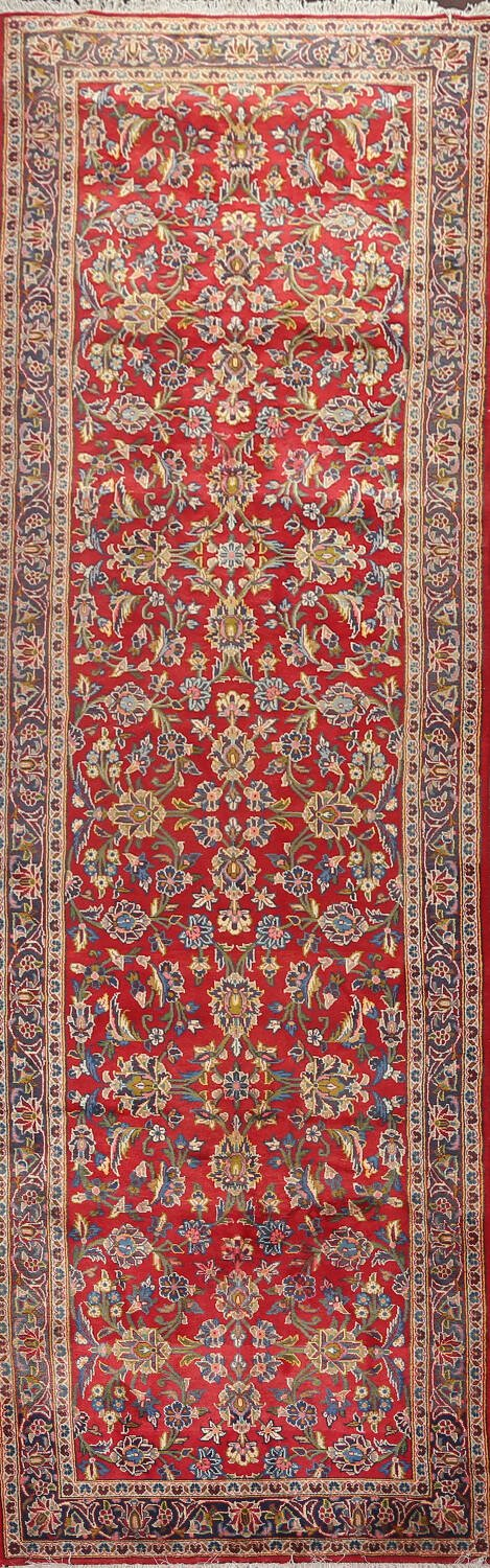 All-Over Red Kashan Persian Runner Rug 3x13 image 1