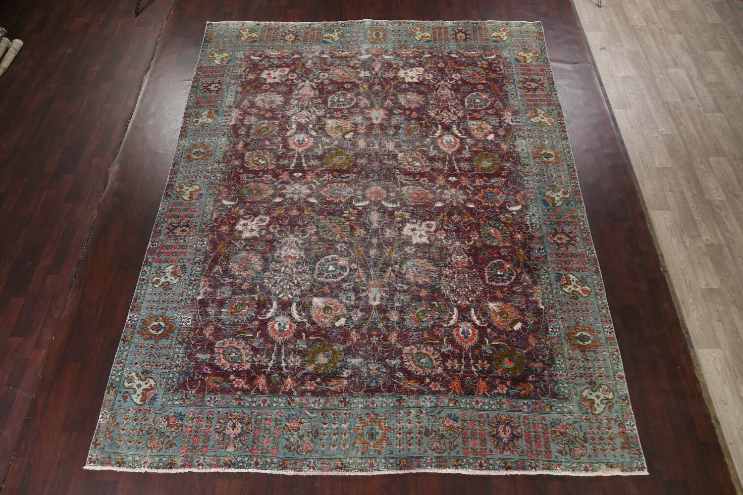 Antique Over-Dyed Tabriz Persian Area Rug 9x12 image 2