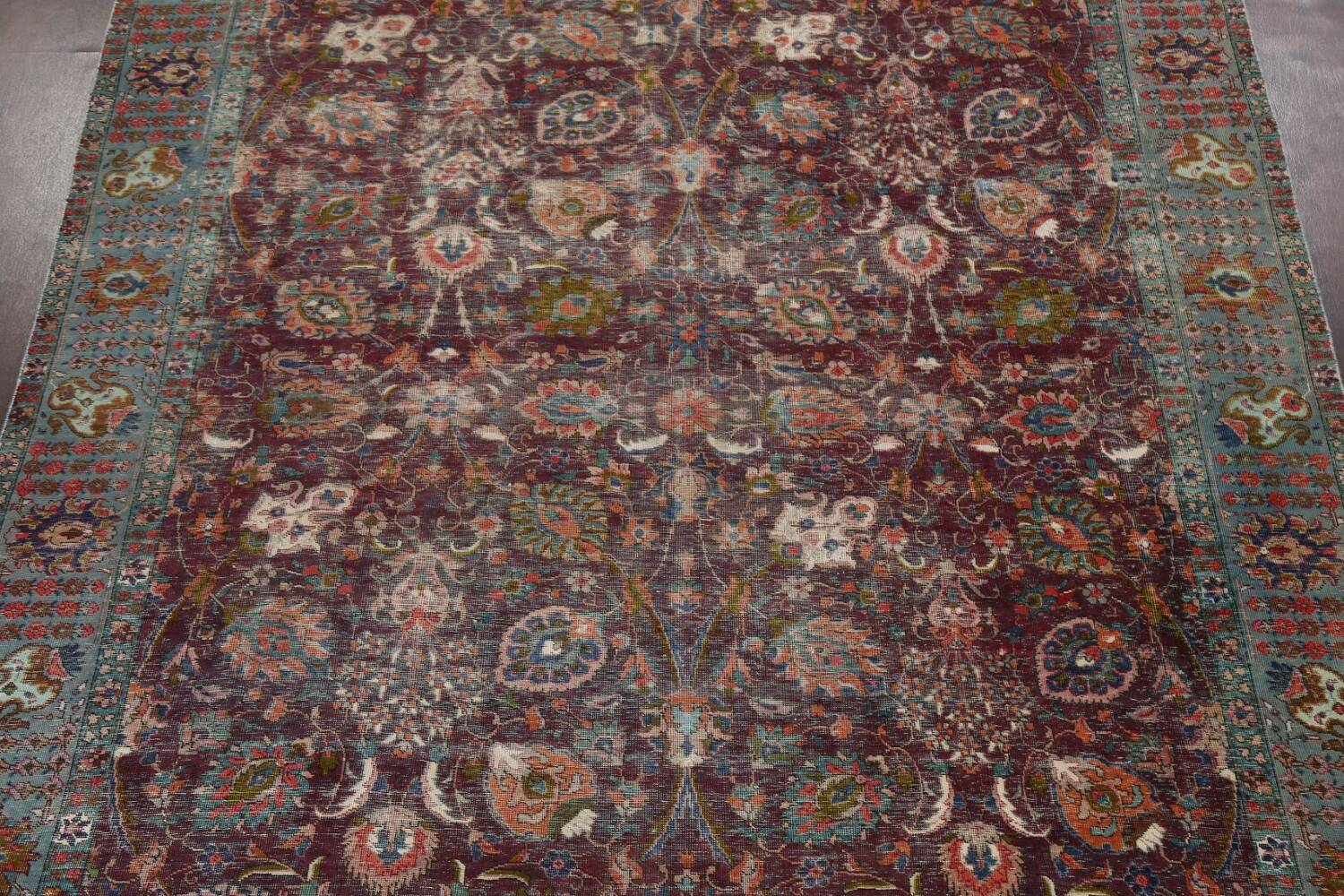 Antique Over-Dyed Tabriz Persian Area Rug 9x12 image 3