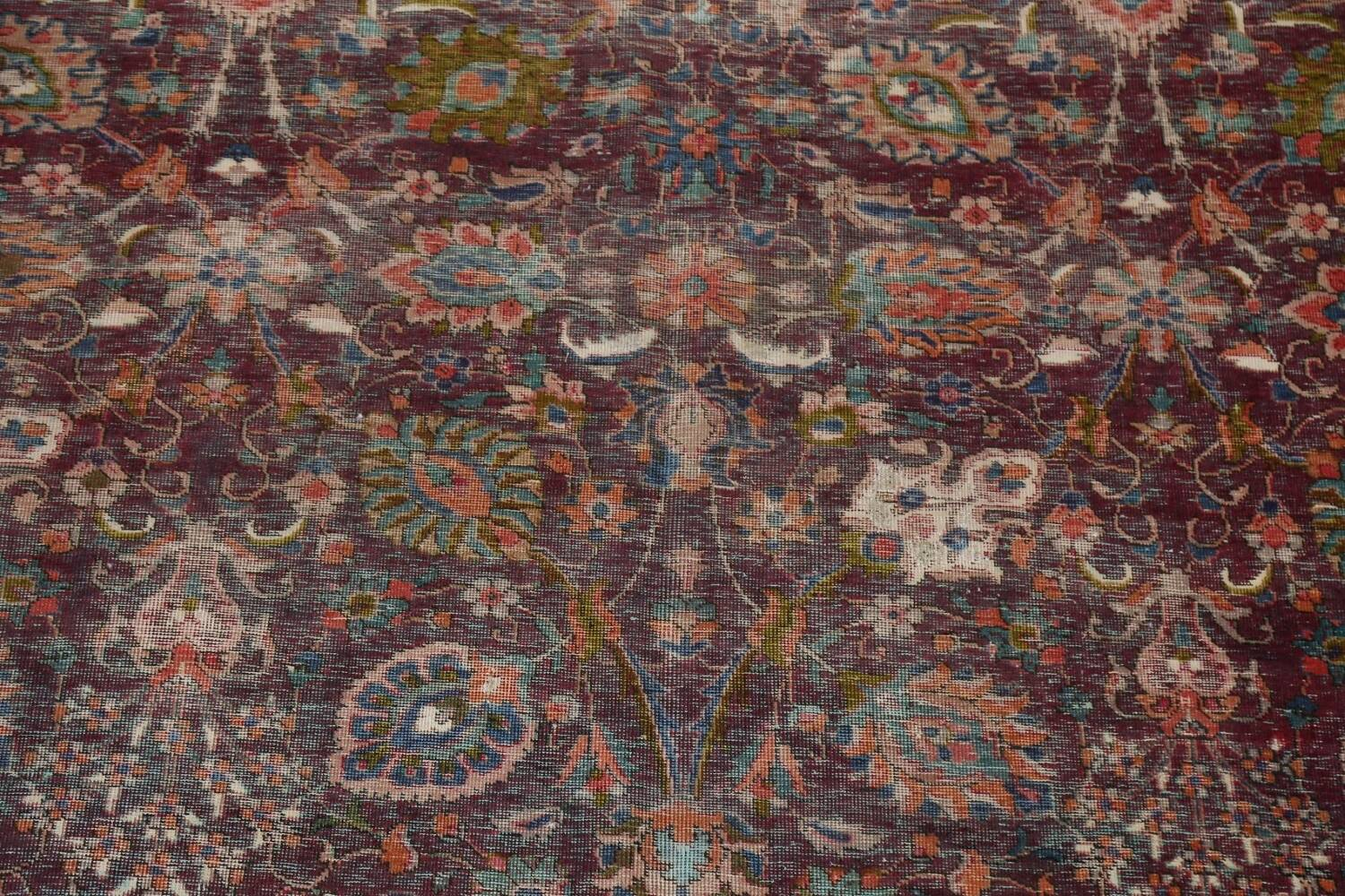 Antique Over-Dyed Tabriz Persian Area Rug 9x12 image 4