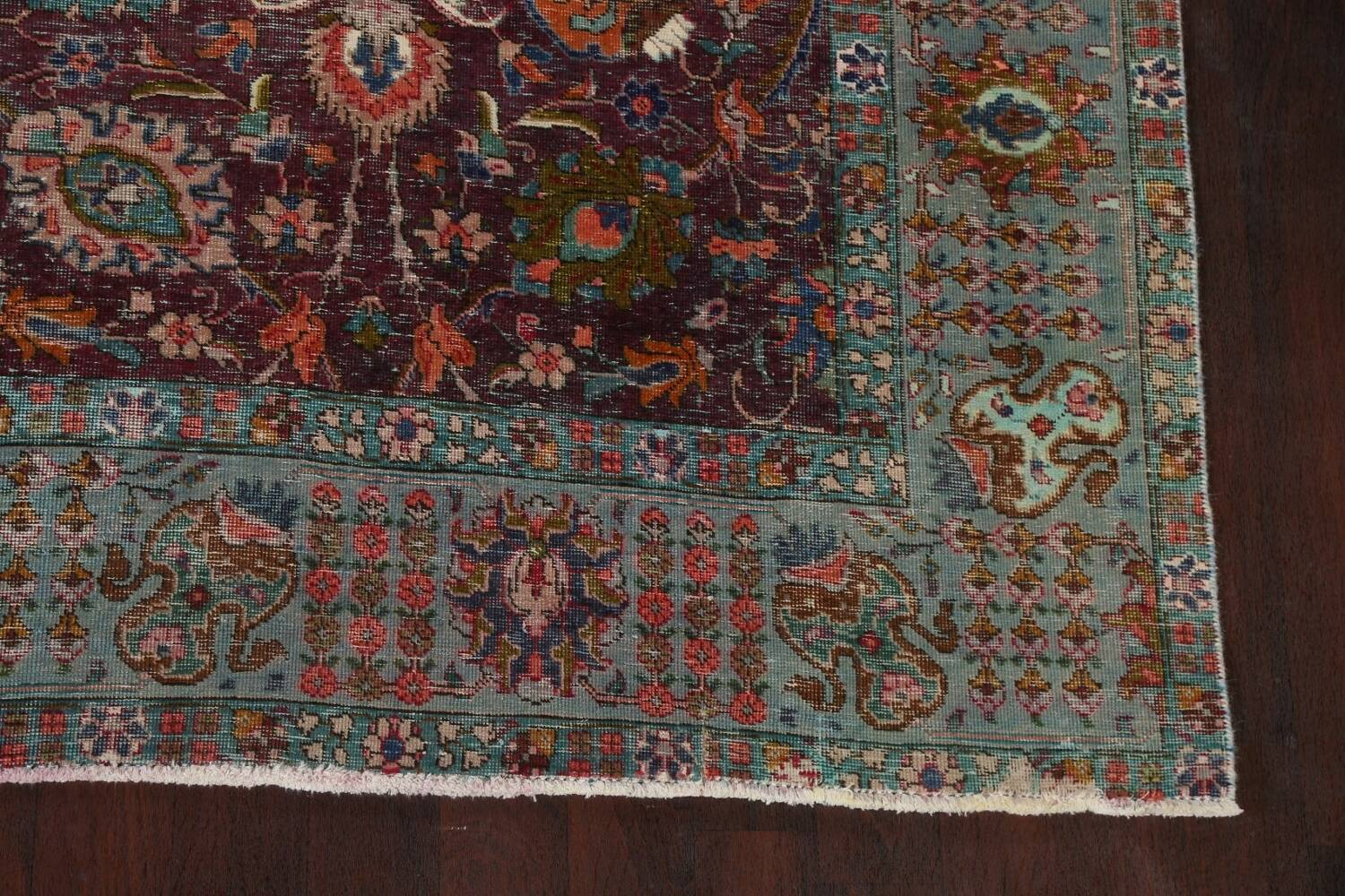 Antique Over-Dyed Tabriz Persian Area Rug 9x12 image 6