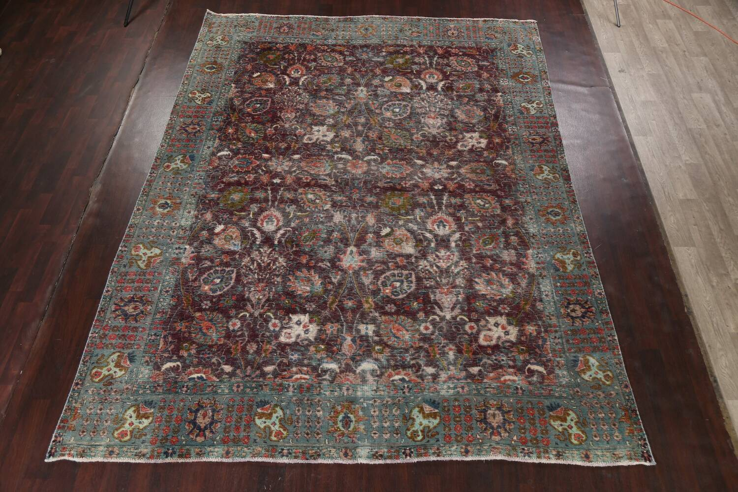 Antique Over-Dyed Tabriz Persian Area Rug 9x12 image 15