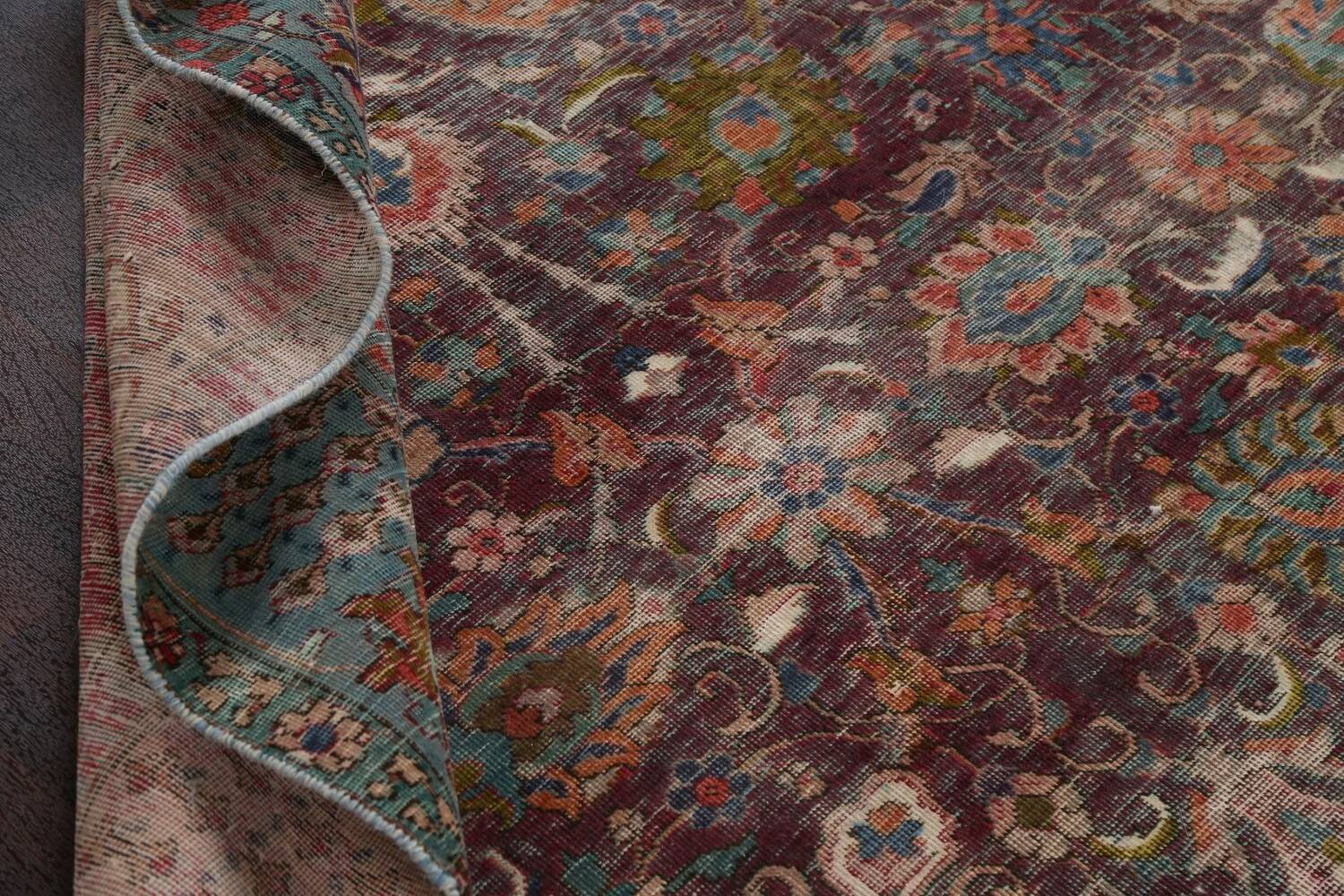 Antique Over-Dyed Tabriz Persian Area Rug 9x12 image 17