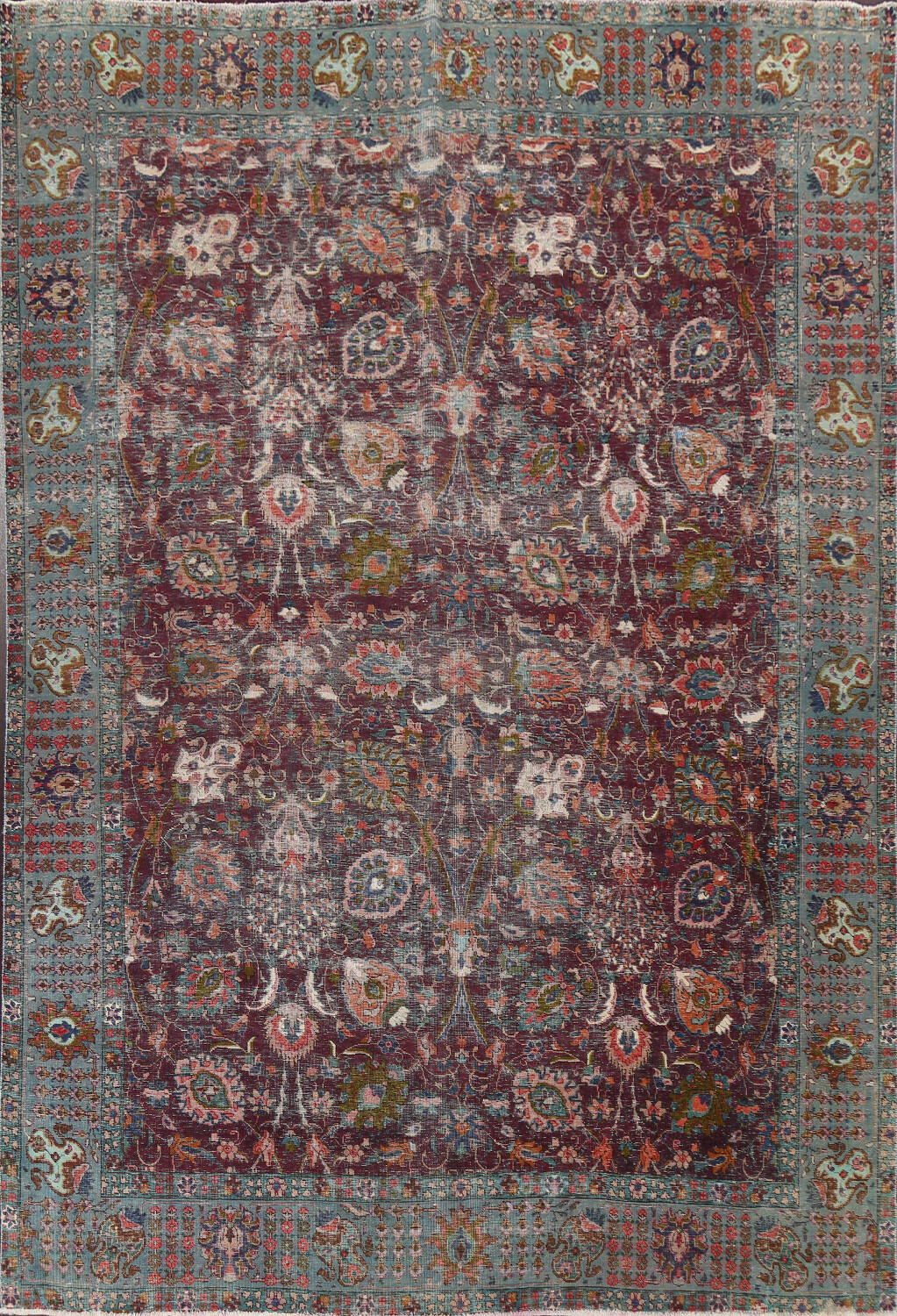 Antique Over-Dyed Tabriz Persian Area Rug 9x12 image 1