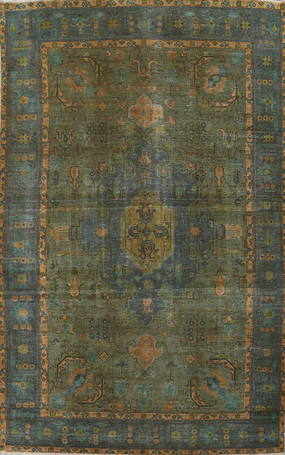 Antique Over-Dyed Tabriz Persian Area Rug 6x10 image 1