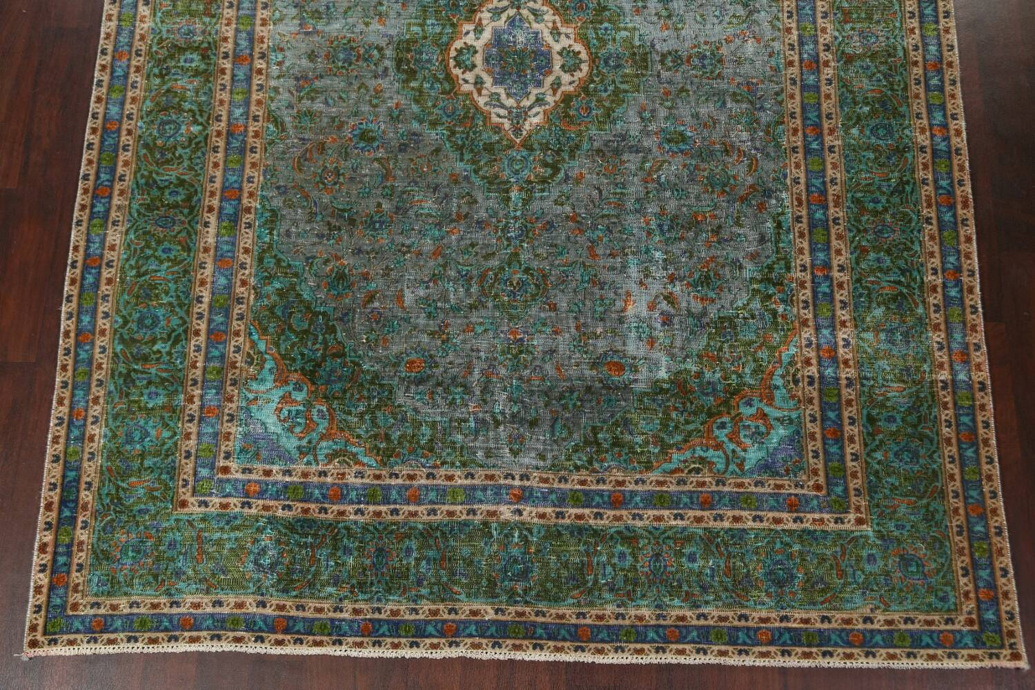 Antique Over-Dyed Kashan Persian Area Rug 8x11 image 5
