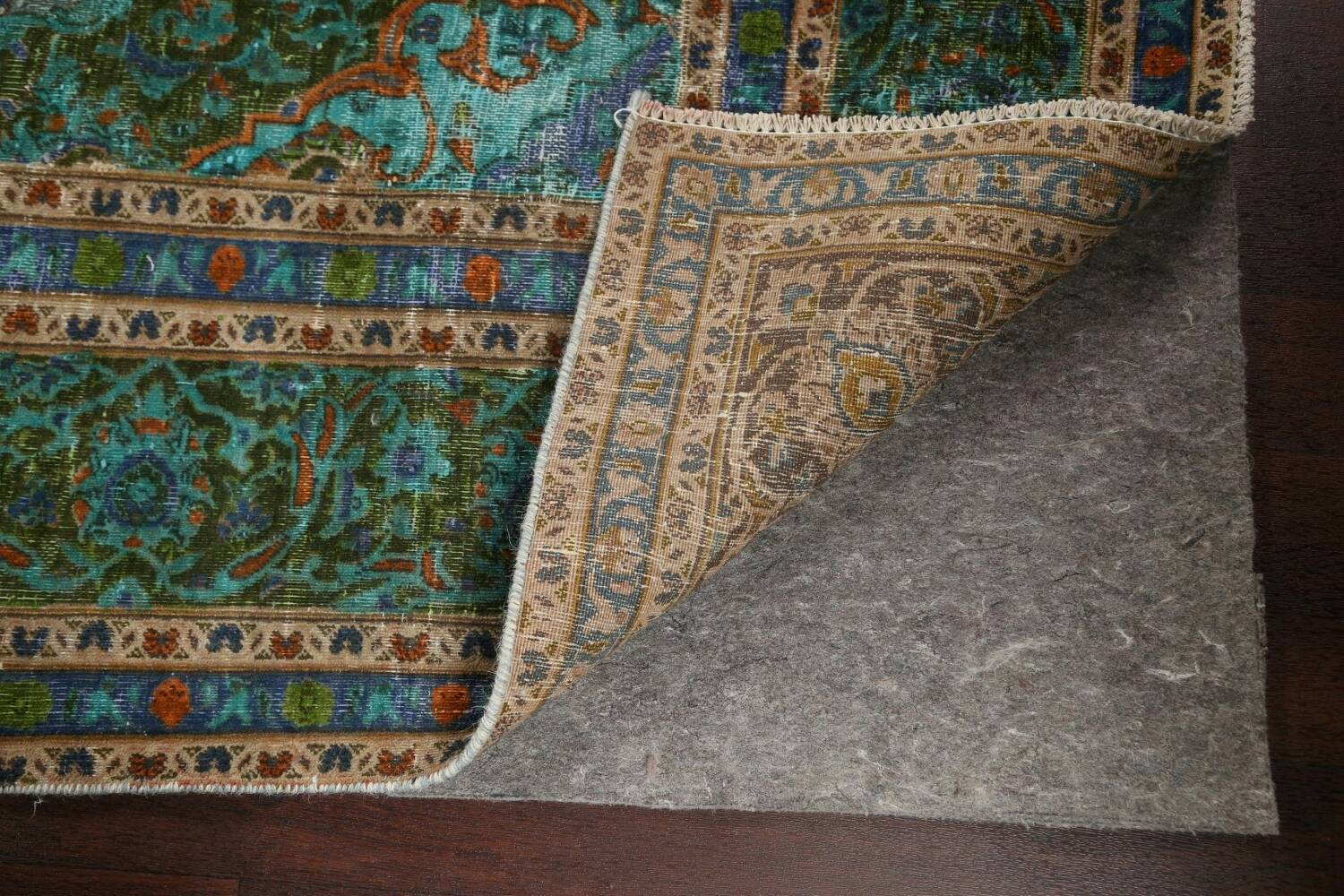 Antique Over-Dyed Kashan Persian Area Rug 8x11 image 7