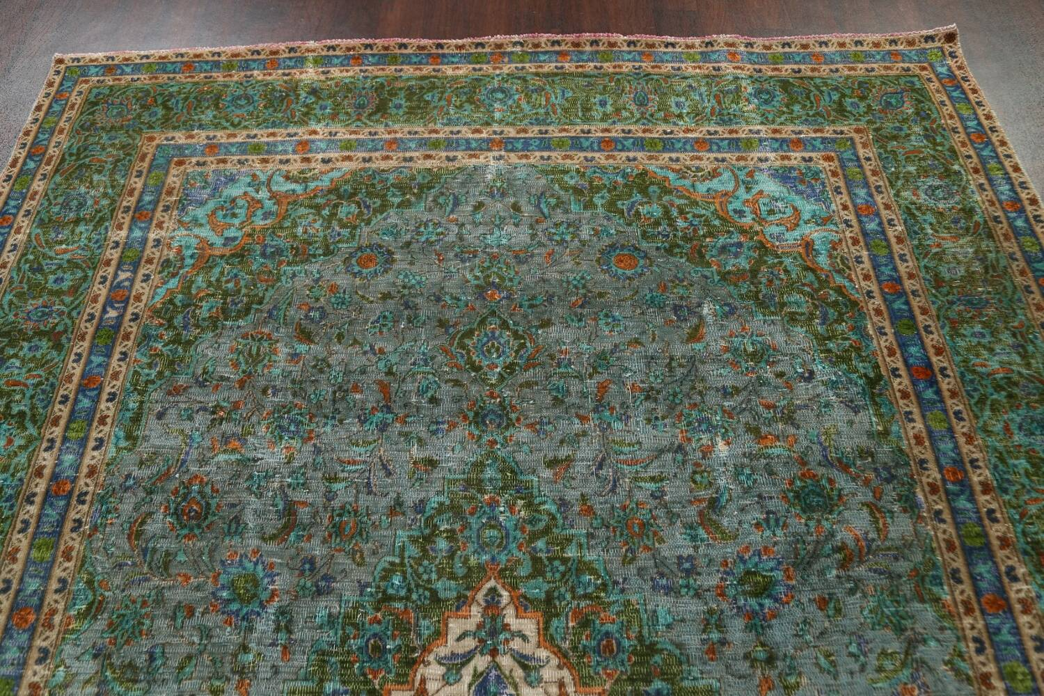 Antique Over-Dyed Kashan Persian Area Rug 8x11 image 9