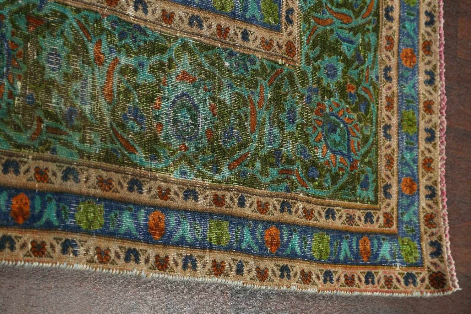 Antique Over-Dyed Kashan Persian Area Rug 8x11 image 10