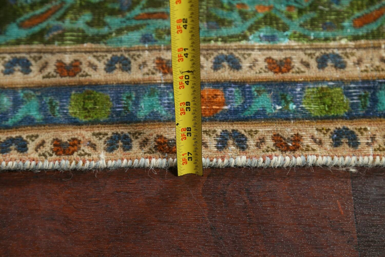 Antique Over-Dyed Kashan Persian Area Rug 8x11 image 17