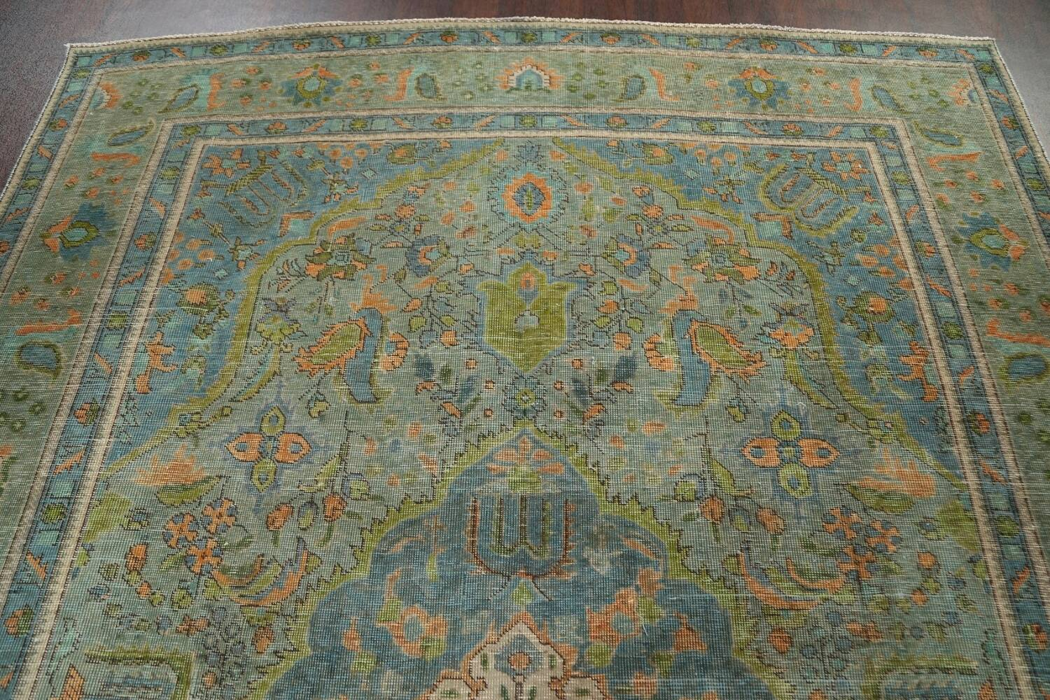 Antique Over-Dyed Tabriz Persian Area Rug 8x11 image 9