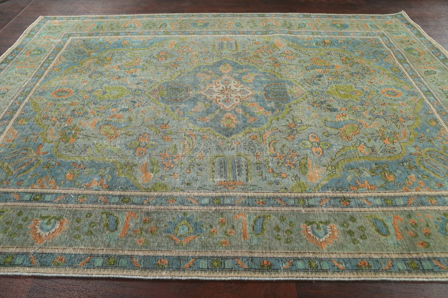 Antique Over-Dyed Tabriz Persian Area Rug 8x11 image 12