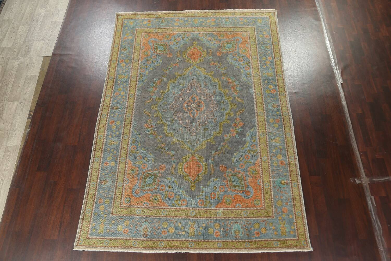 Antique Over-Dyed Tabriz Persian Area Rug 7x11 image 13