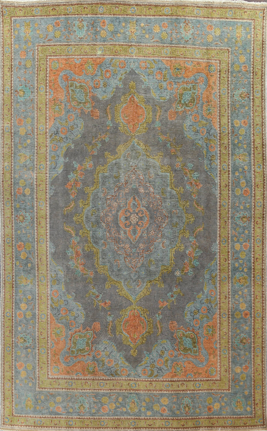 Antique Over-Dyed Tabriz Persian Area Rug 7x11 image 1