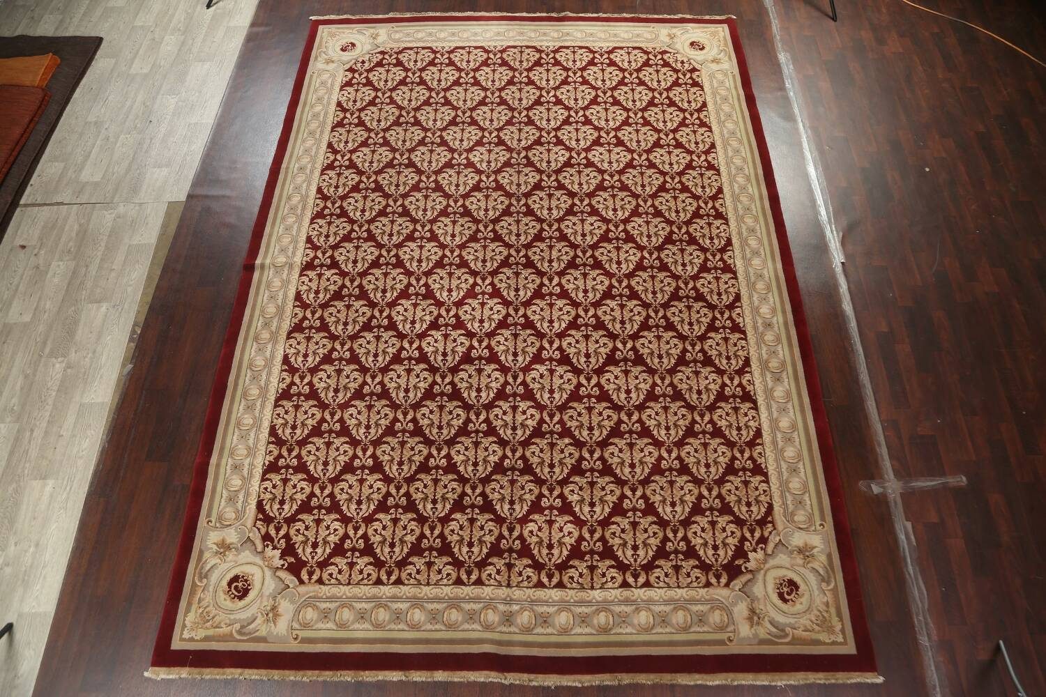 All-Over Red Aubusson Handmade Rug 10x14 image 2