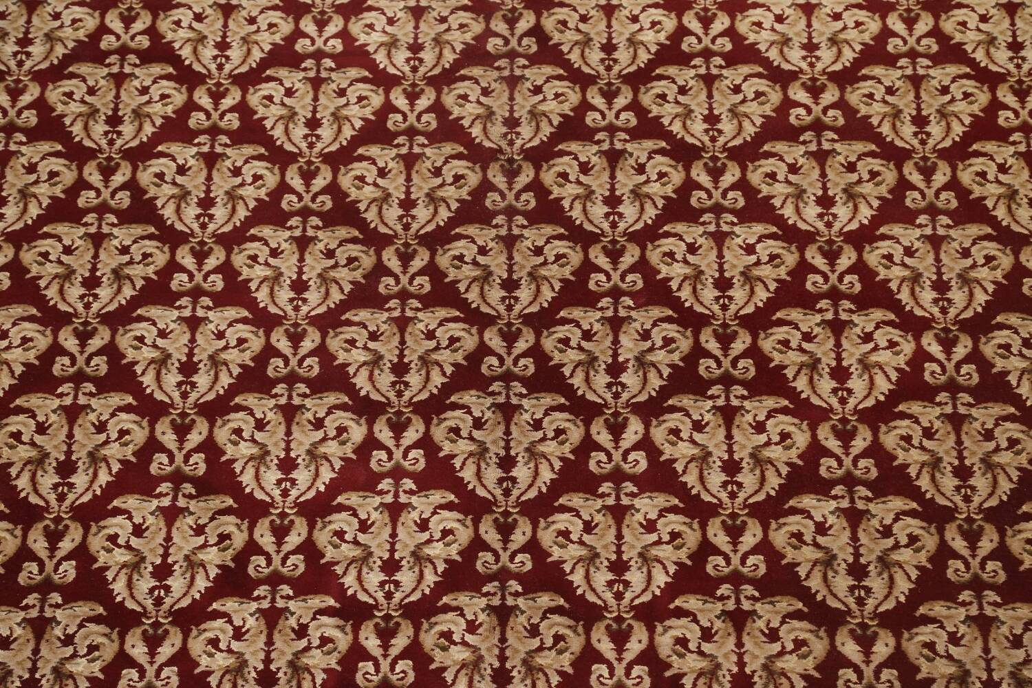 All-Over Red Aubusson Handmade Rug 10x14 image 4