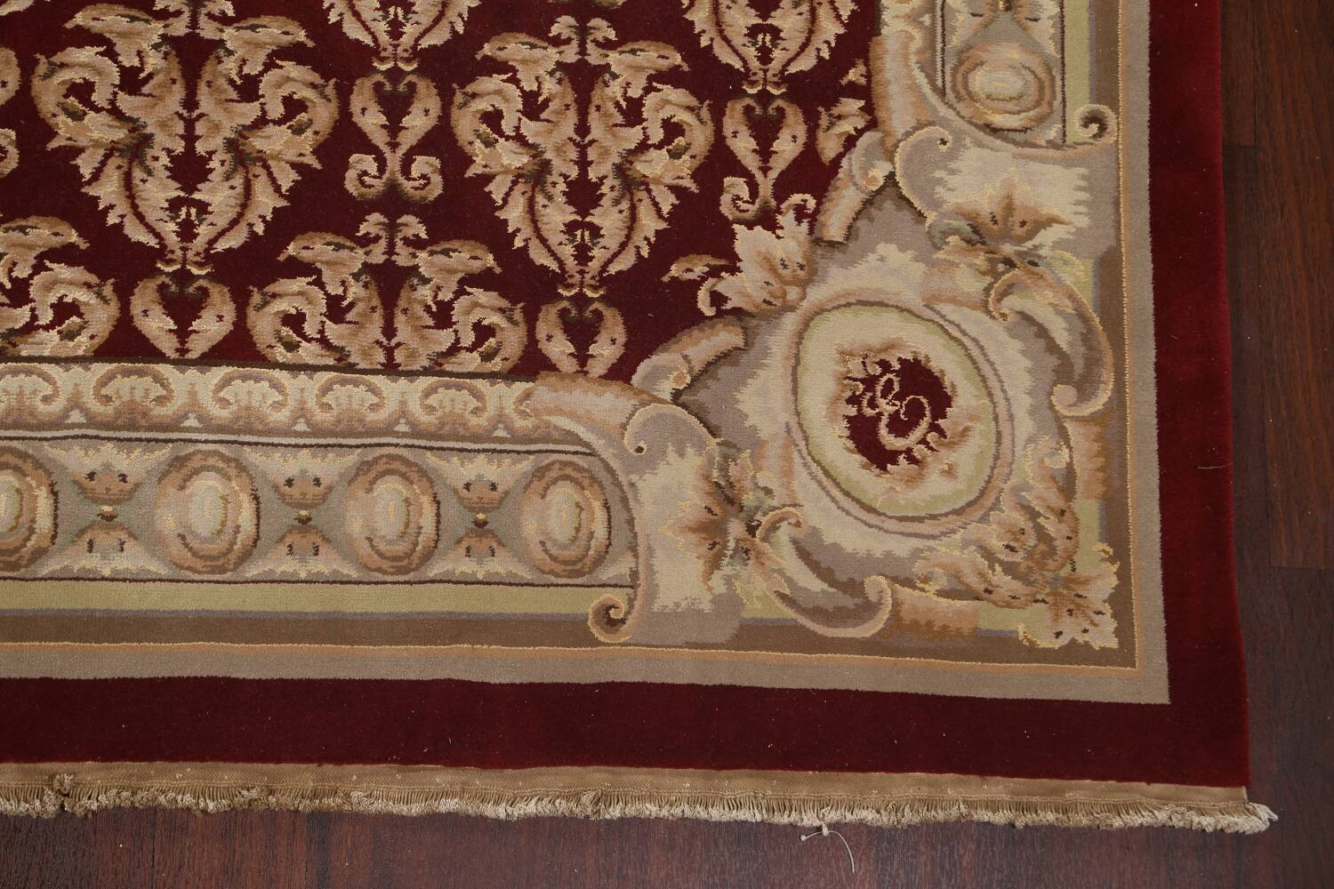 All-Over Red Aubusson Handmade Rug 10x14 image 6