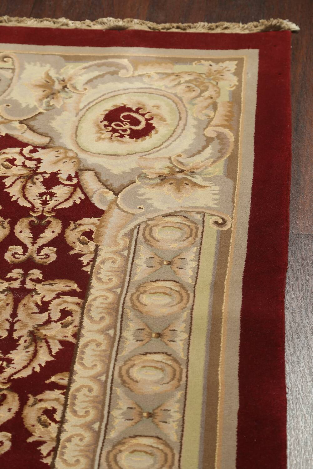 All-Over Red Aubusson Handmade Rug 10x14 image 10