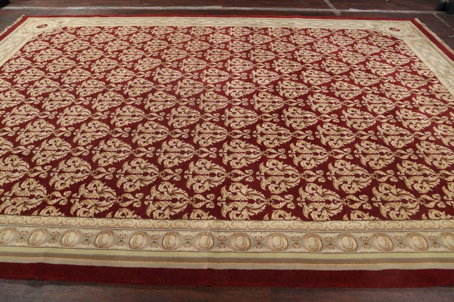 All-Over Red Aubusson Handmade Rug 10x14 image 12