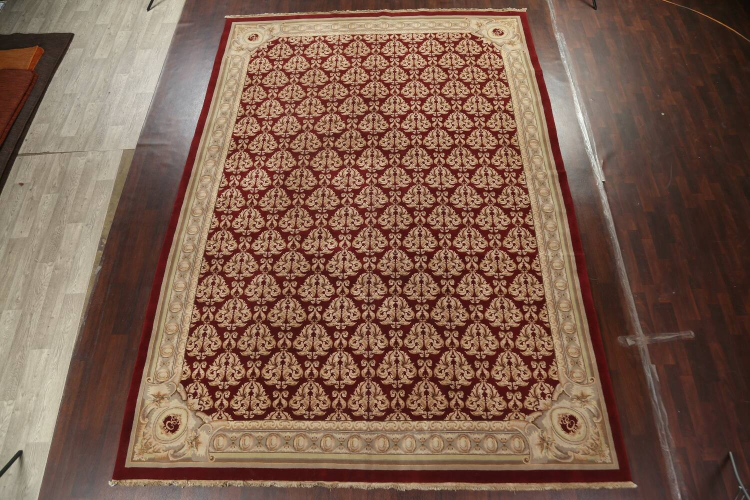 All-Over Red Aubusson Handmade Rug 10x14 image 13