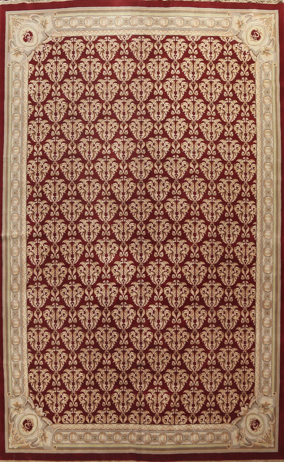 All-Over Red Aubusson Handmade Rug 10x14 image 1