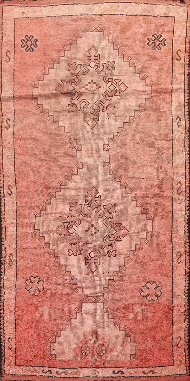 Antique Moroccan Wool Area Rug 5x12 image 1