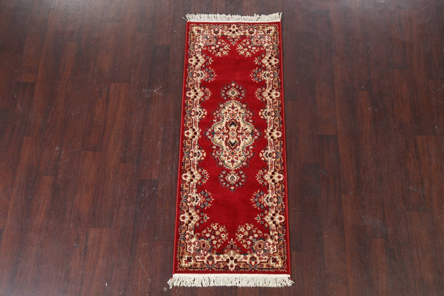 Red Floral Aubusson Oriental Rug 2x6 image 2