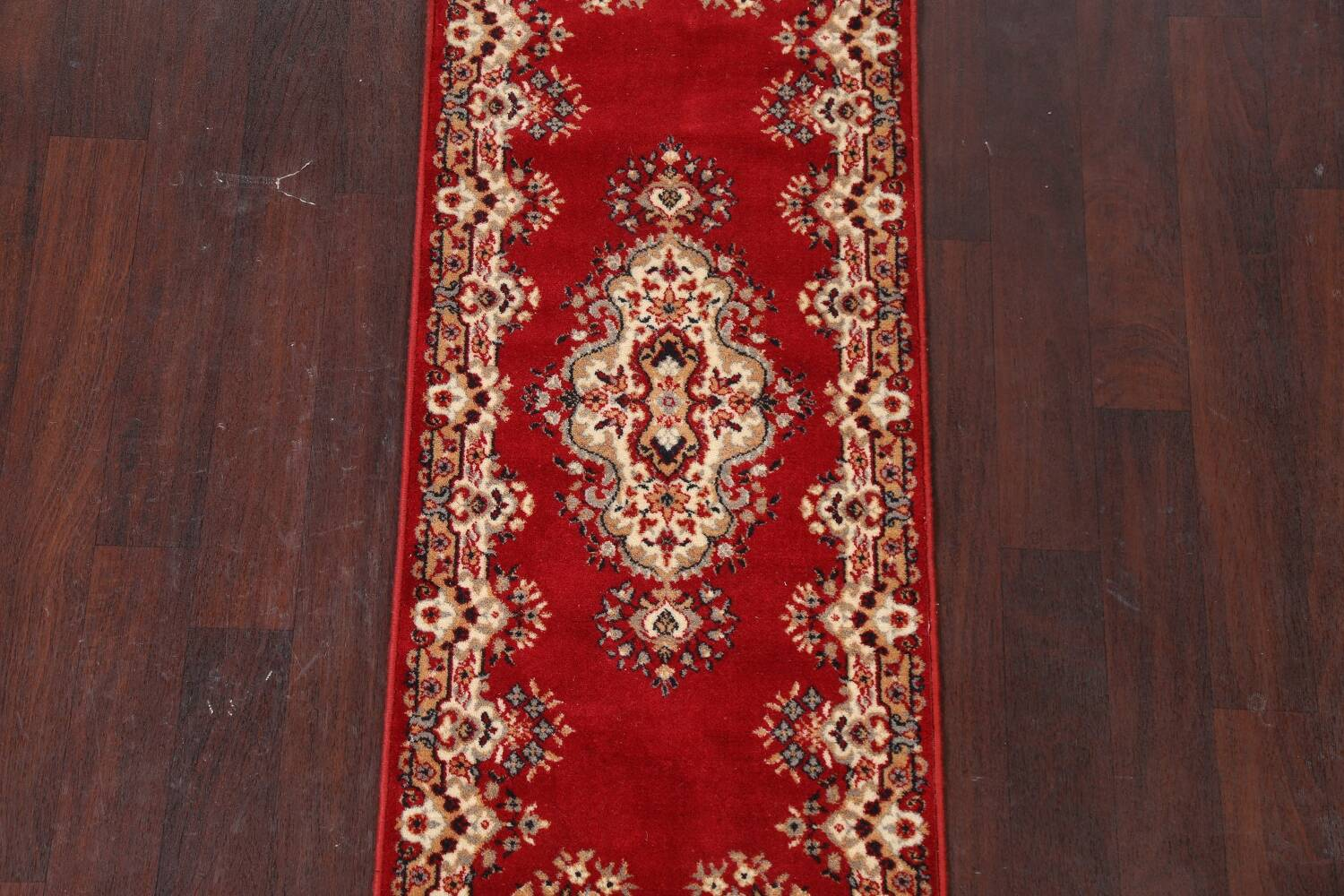 Red Floral Aubusson Oriental Rug 2x6 image 3