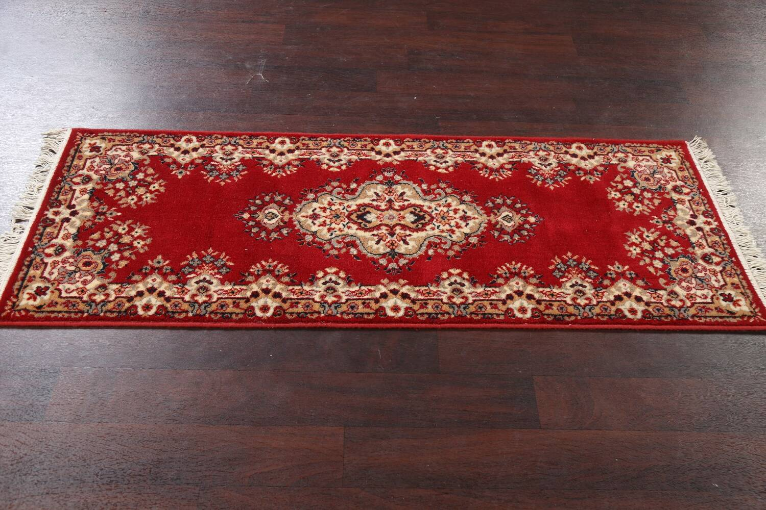 Red Floral Aubusson Oriental Rug 2x6 image 13