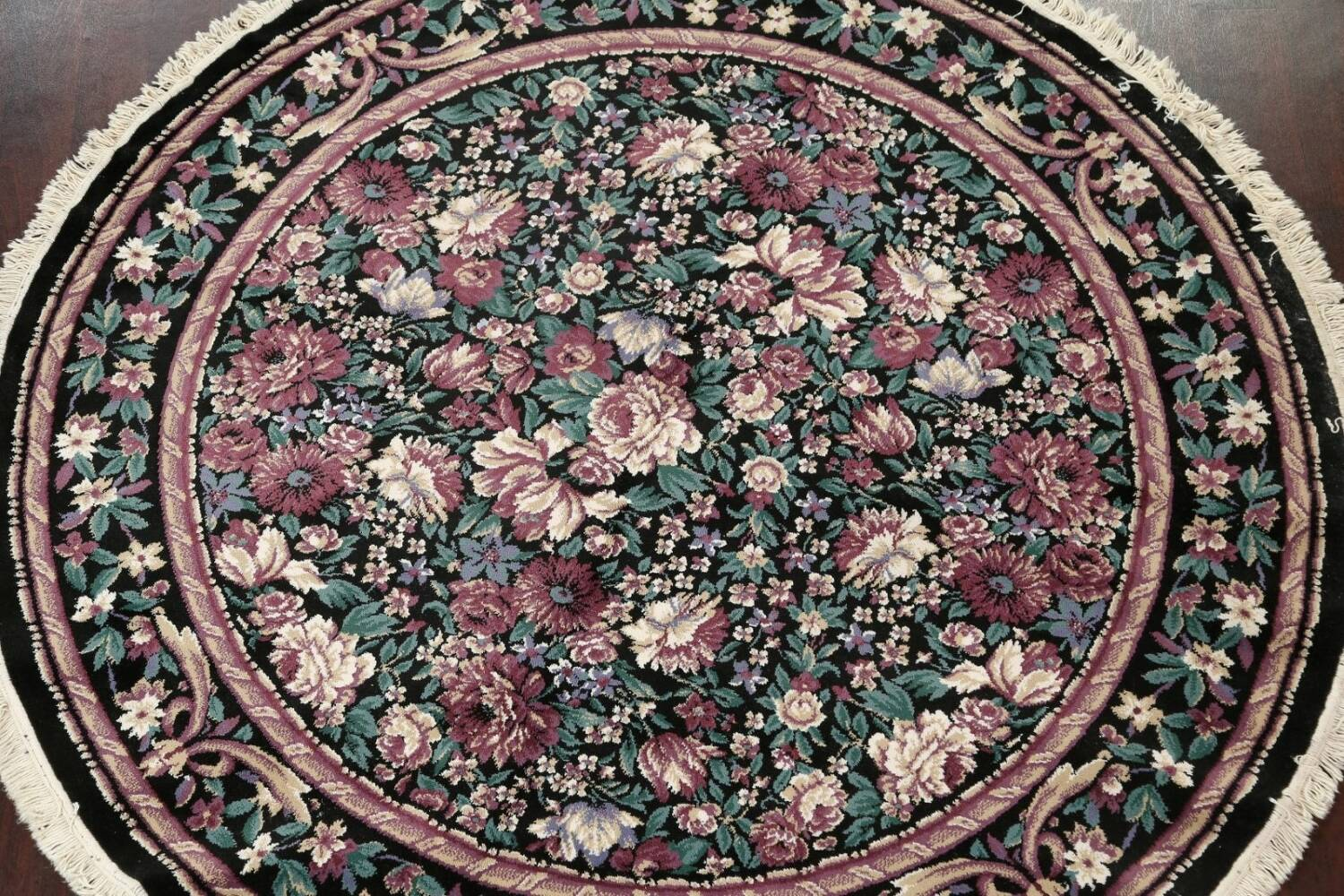 Floral Aubusson Round Area Rug 8x8 image 3