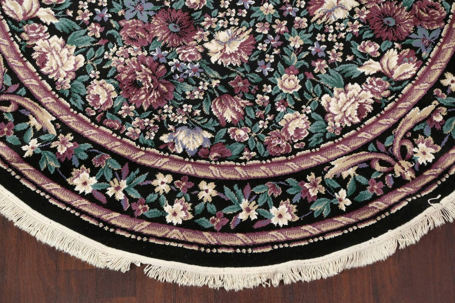 Floral Aubusson Round Area Rug 8x8 image 5