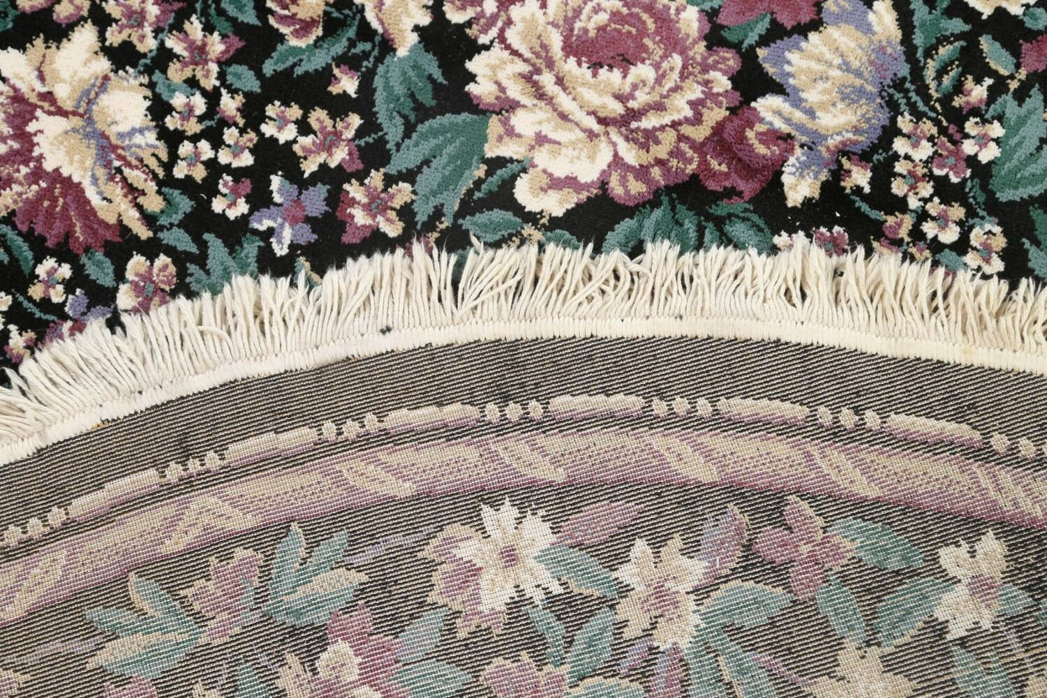 Floral Aubusson Round Area Rug 8x8 image 7