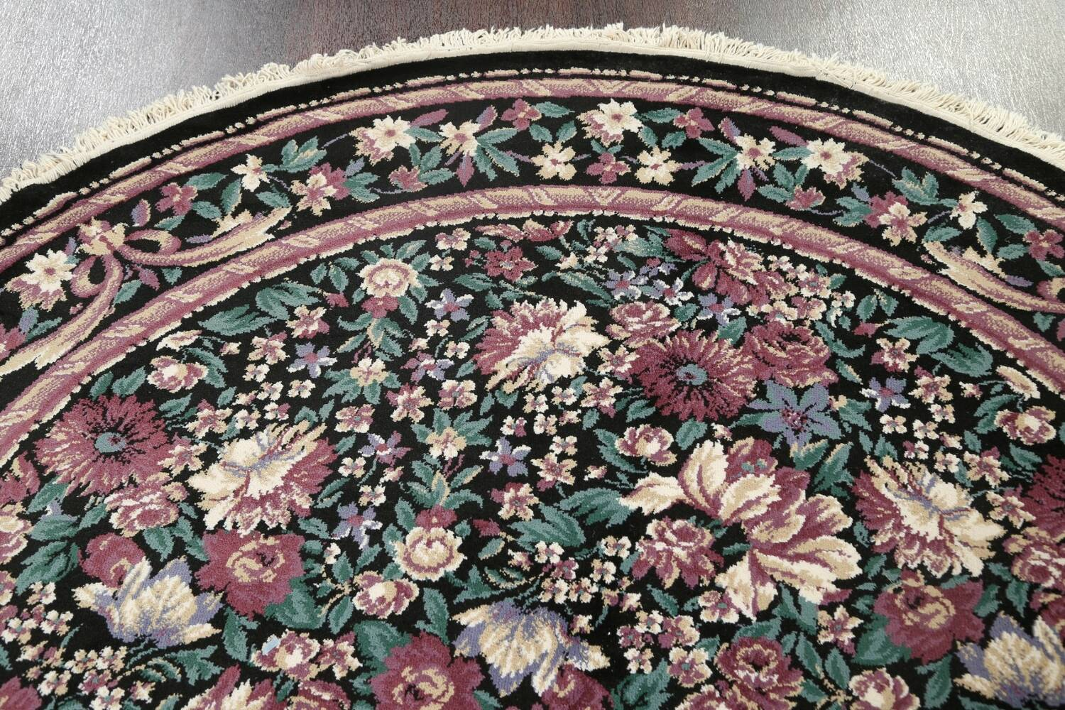 Floral Aubusson Round Area Rug 8x8 image 9