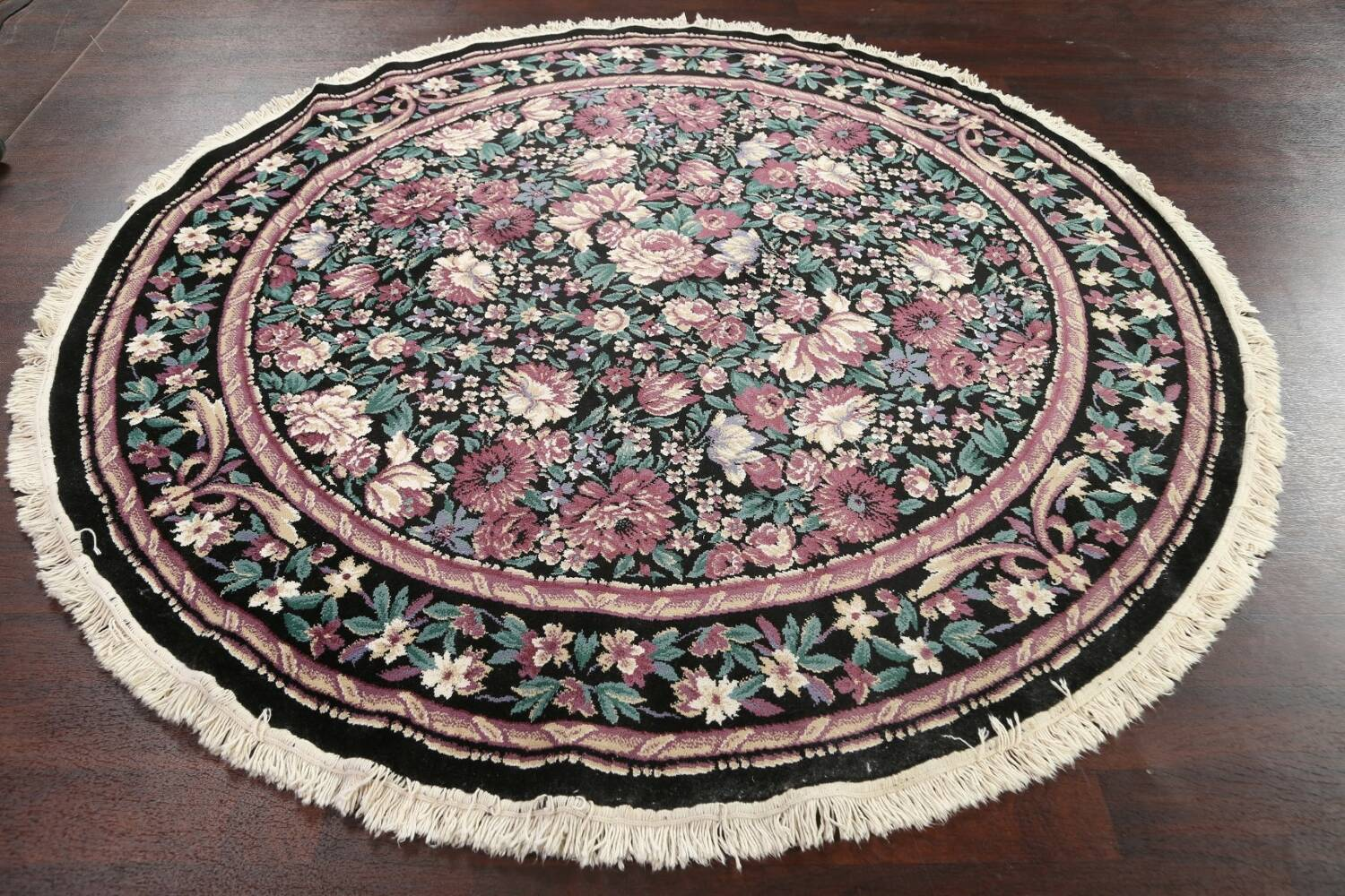 Floral Aubusson Round Area Rug 8x8 image 10