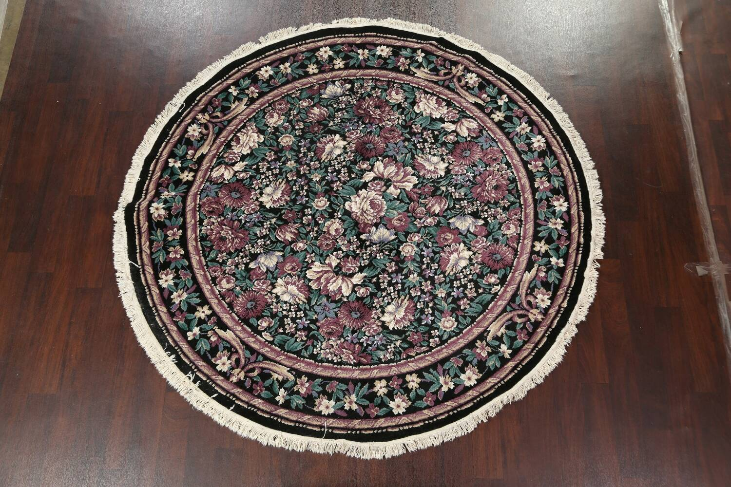Floral Aubusson Round Area Rug 8x8 image 11