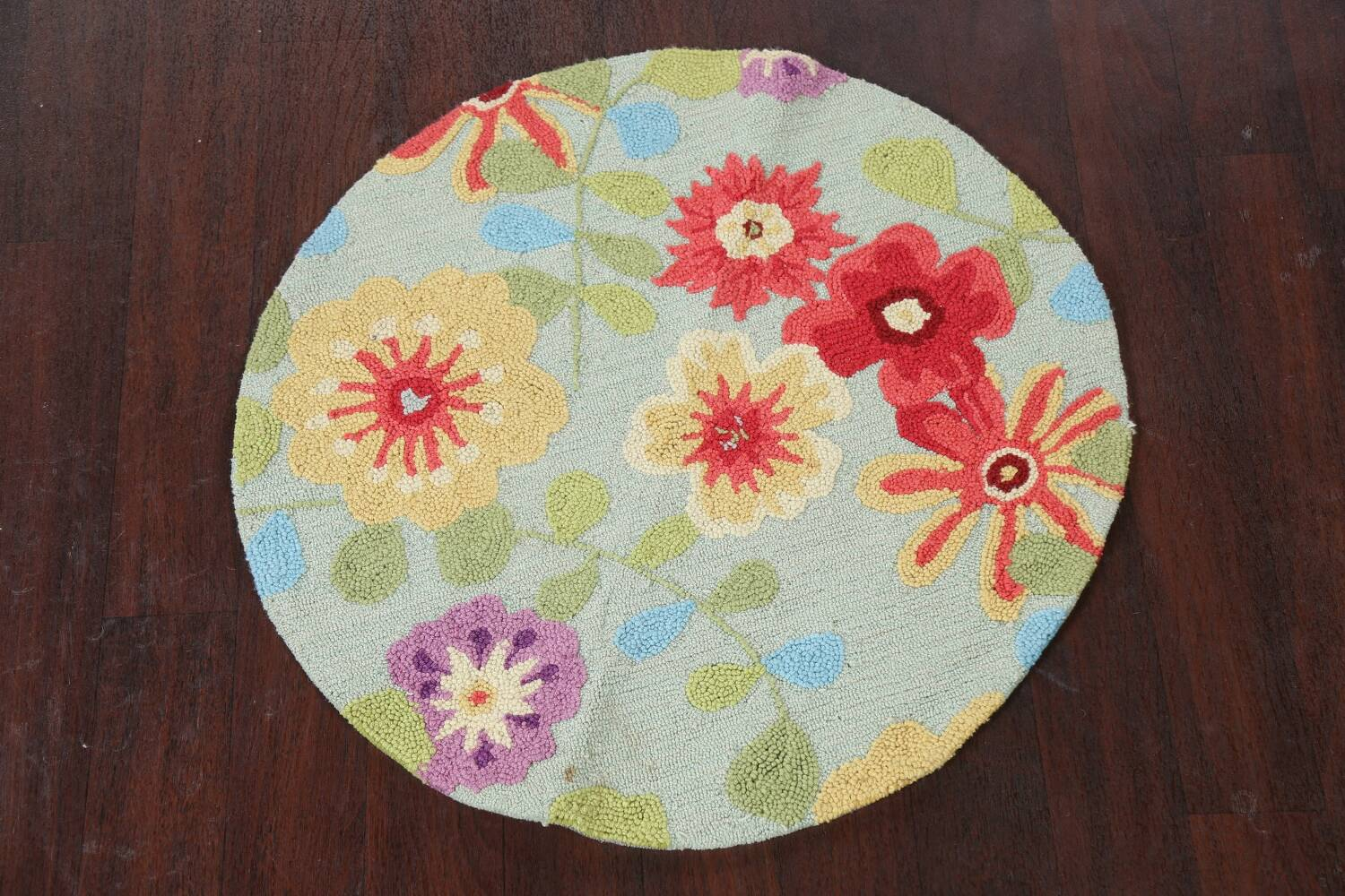 Contemporary Abstract Round Rug 3x3 image 2