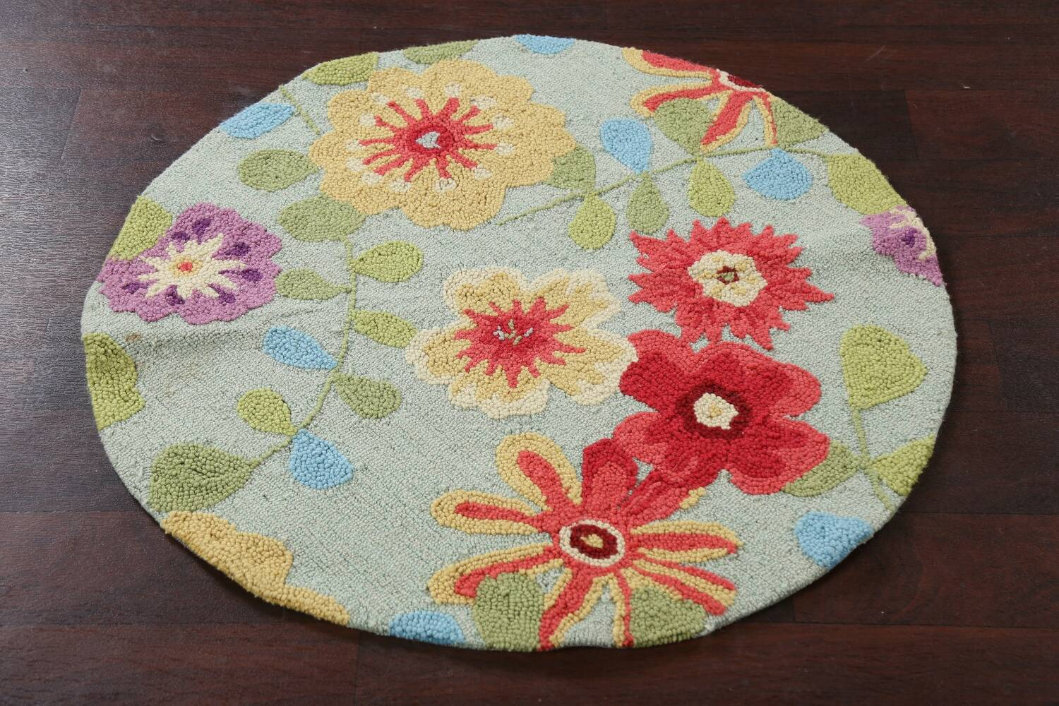 Contemporary Abstract Round Rug 3x3 image 13