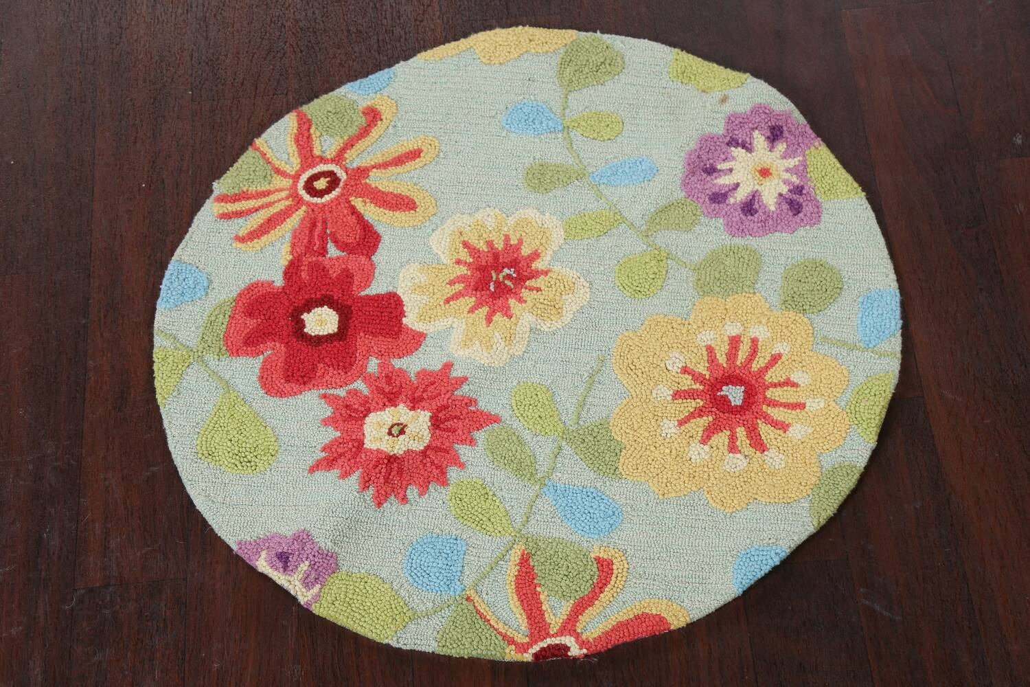 Contemporary Abstract Round Rug 3x3 image 14
