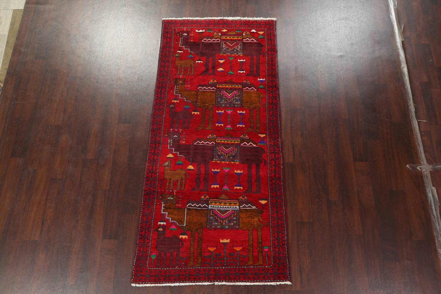 Animal Pictorial Balouch Persian Area Rug 4x8 image 2