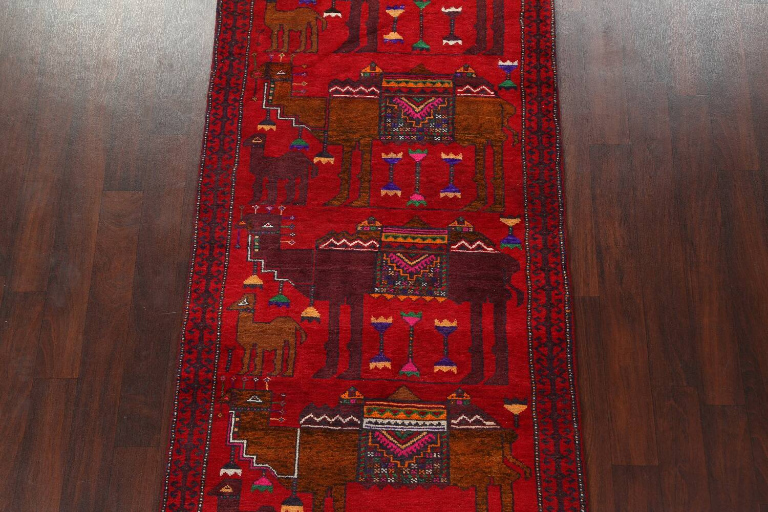 Animal Pictorial Balouch Persian Area Rug 4x8 image 3