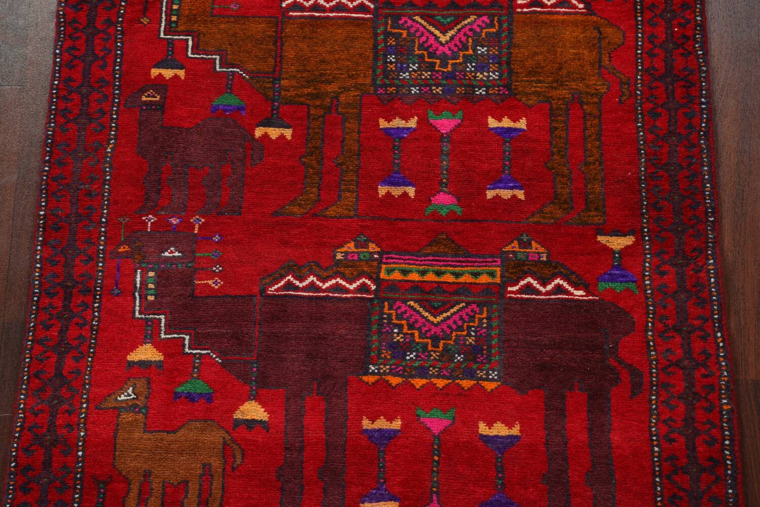 Animal Pictorial Balouch Persian Area Rug 4x8 image 4