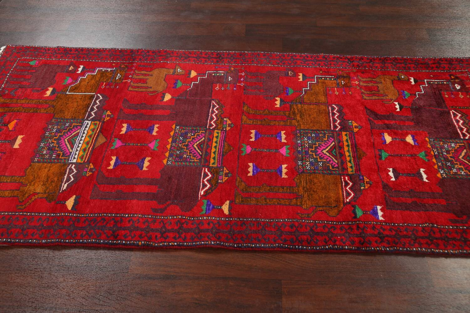 Animal Pictorial Balouch Persian Area Rug 4x8 image 13