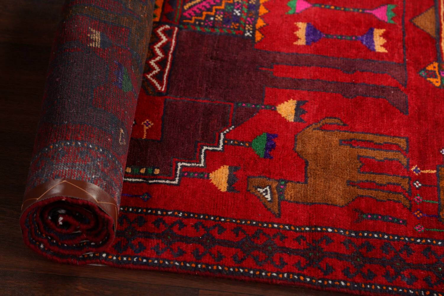 Animal Pictorial Balouch Persian Area Rug 4x8 image 15