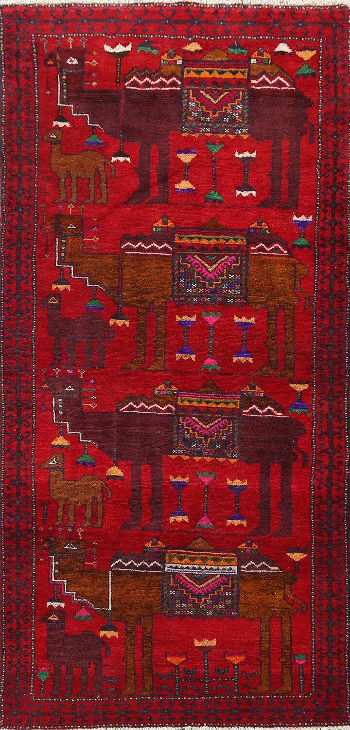 Animal Pictorial Balouch Persian Area Rug 4x8 image 1