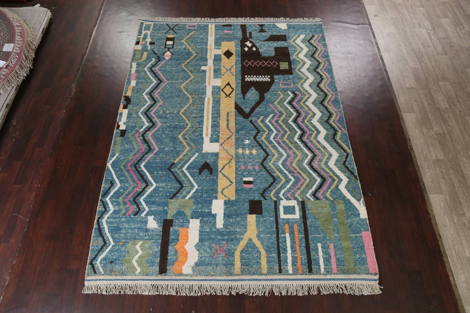 Wool Moroccan Abstract Area Rug 8x11 image 3
